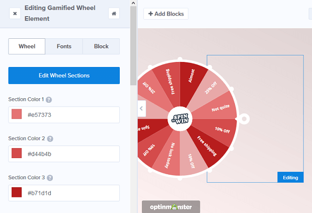 OptinMonster gamification in digital marketing spinning wheel