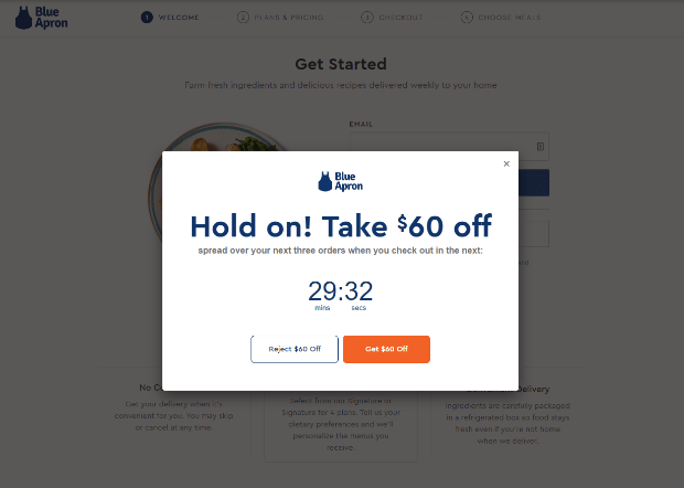 blue apron signup countdown timer