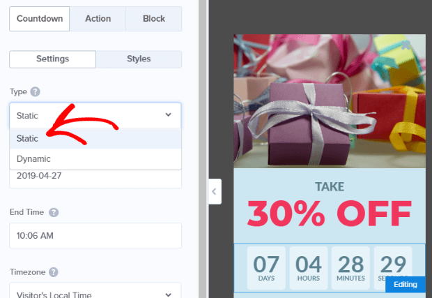 choose static sales countdown timer