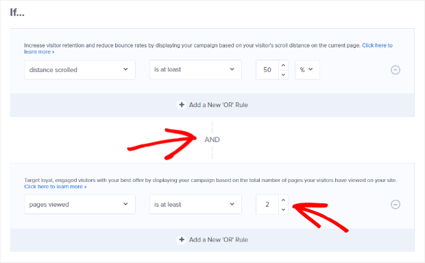 set and display rule for pages viewed