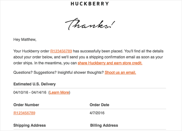 huckberry sales follow up