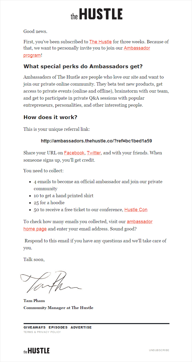 the hustle 3-week subscriber email