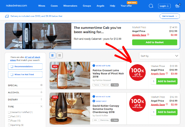 naked wines social proof example