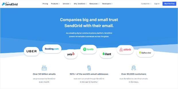sendgrid's social proof page