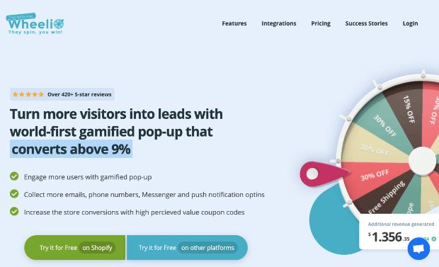 wheelio homepage for discount wheel popups