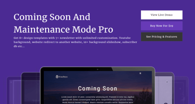 coming soon page & maintenance mode plugin