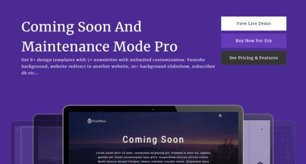 coming soon page & maintenance mode plugin