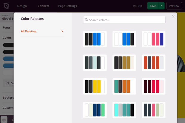 color palettes from seedprod to help with landing page design