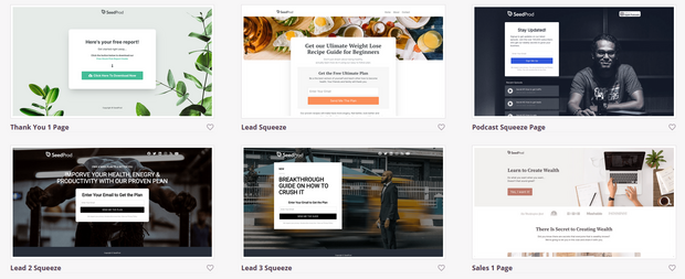 landing page templates from seedprod