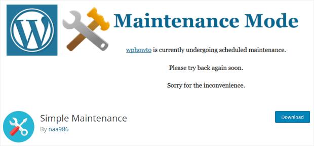 simple maintenance mode plugin