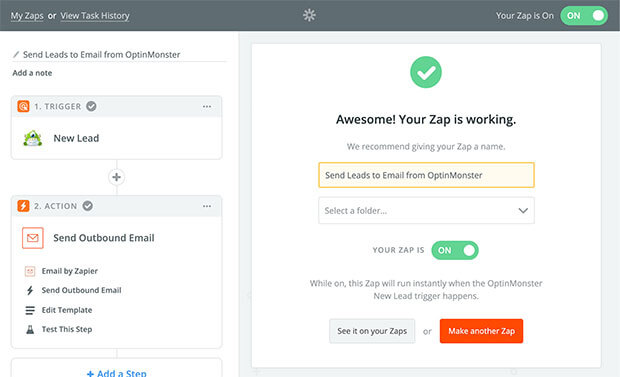 Name and turn your Zap on to receive leads to your email.