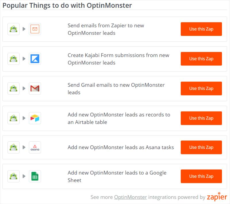 zapier and optinmonster integration