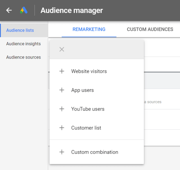 create a remarketing list in google ads