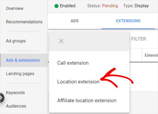 create a location extention
