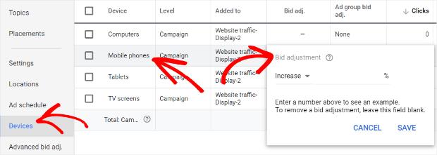 create a mobile bid adjustment