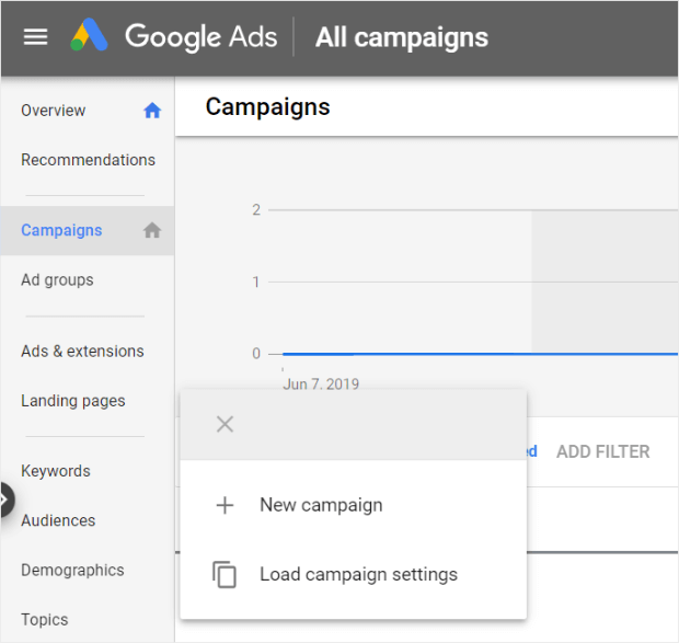 create new campaign with google ads