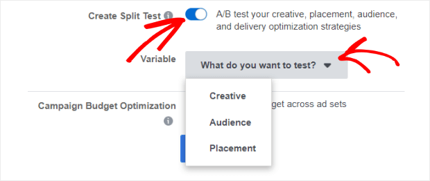 create split test in guided creation