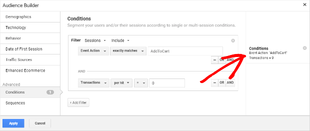 google analytics abandoned cart audience parameters