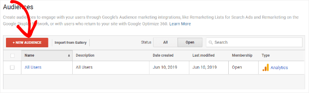 create a new audience in google analytics