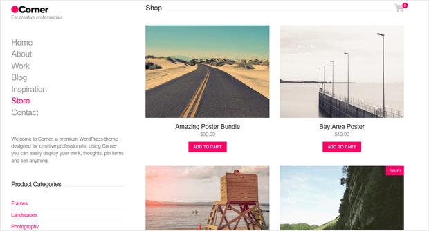 corner wordpress theme for ecommerce