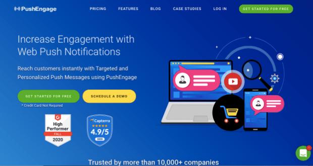 PushEngage homepage