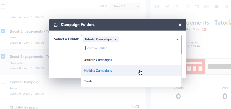 choose the folder or folders you want to add campaigns to