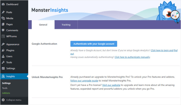 authenticate monsterinsights with your google account