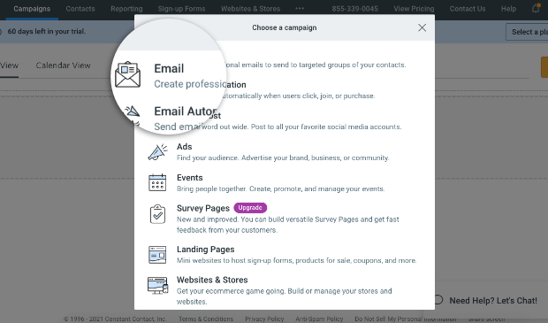 create a newsletter with constant contact