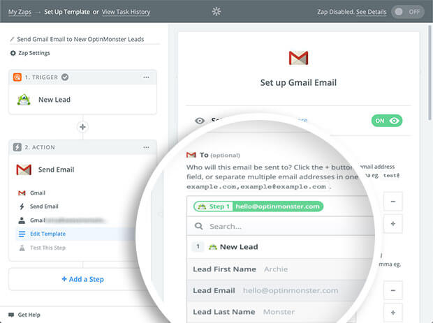 Select New Lead for your To field when configuring the Gmail template