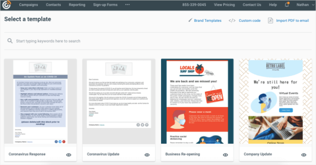 select a template to create an email newsletter with constant contact