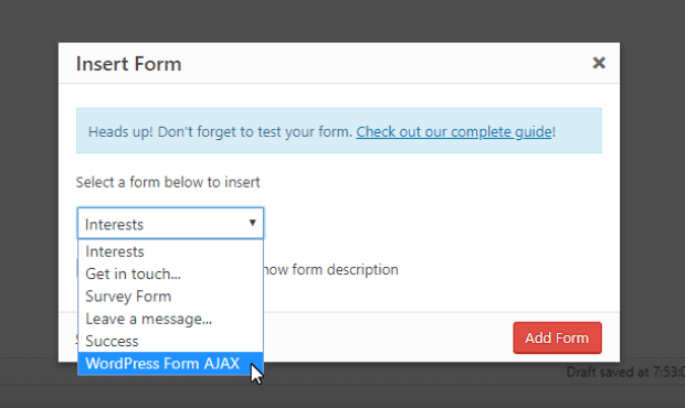 select ajax form from dropdown