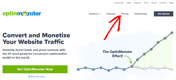 optinmonster's pricing link is prominently displayed