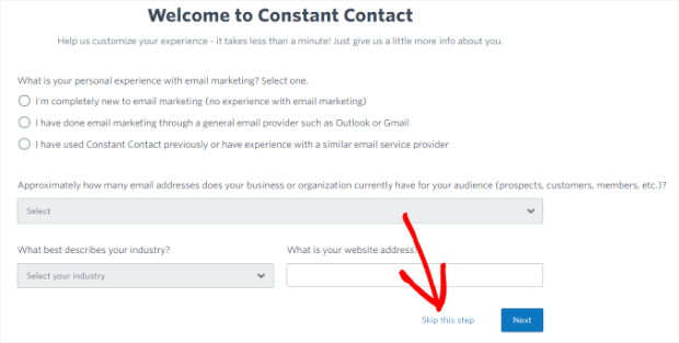 skip guided setup to send your email newsletter faster