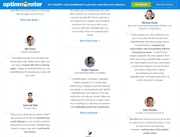optinmonster's testimonials page snippet