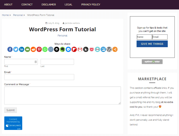wpforms example on live site