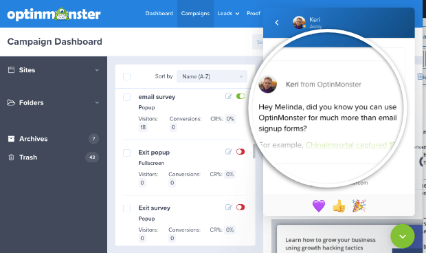 optinmonster chat dashboard