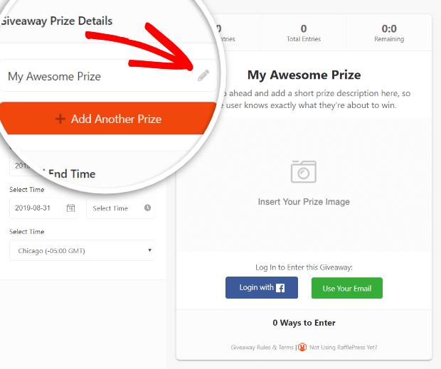 rafflepress giveaway prize details