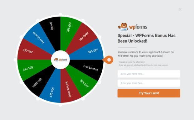 discount wheel optin on wpforms