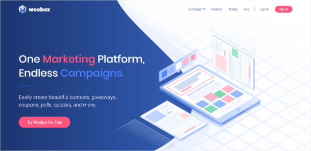 woobox online giveaway creator homepage