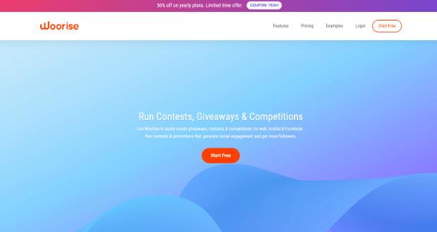 woorise online giveaway tool homepage