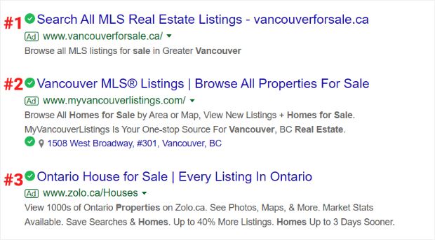 ad position in search results