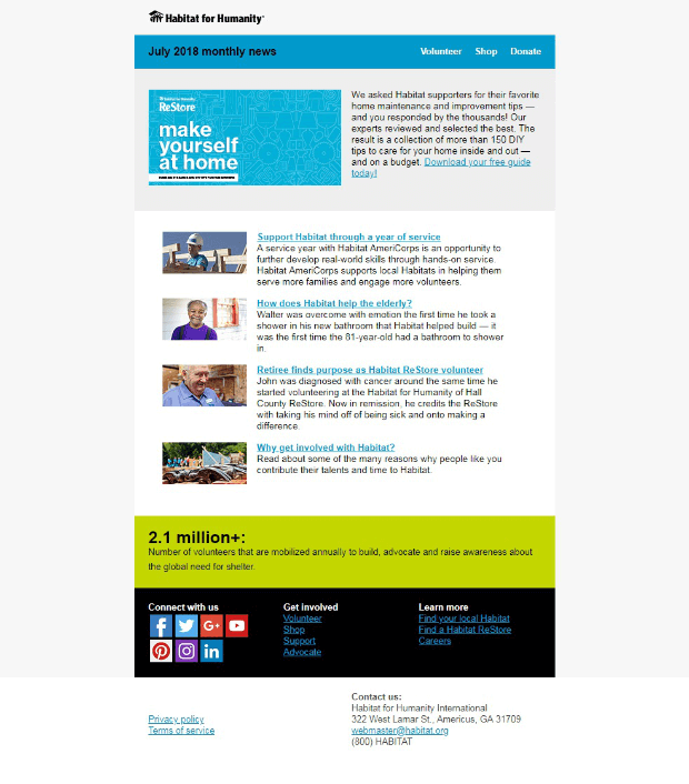 charity marketing nonprofit newsletter examples