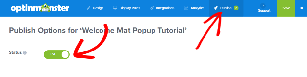 publish your welcome mat popup