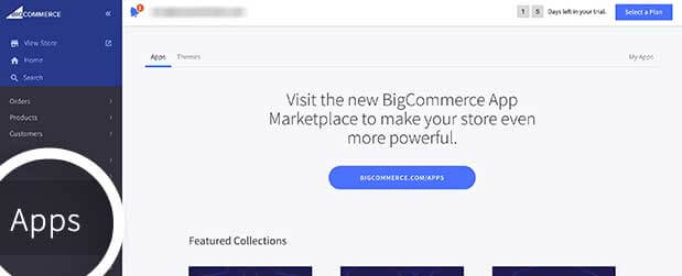 BigCommerce Apps menu link