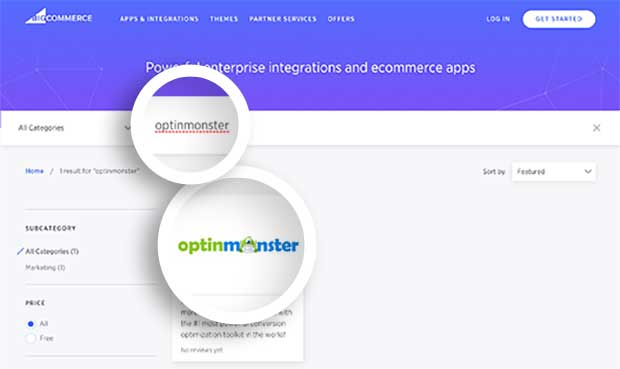 OptinMonster App for BigCommerce in the App Marketplace