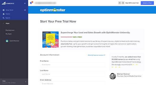 Create OptinMonster account through the BigCommerce app