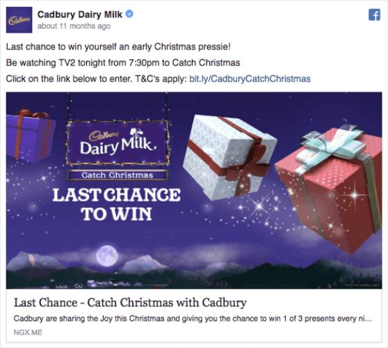 cadbury holiday facebook ad