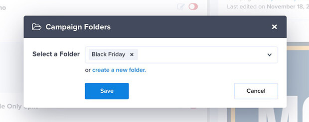 Add OptinMonster campaign to folder modal