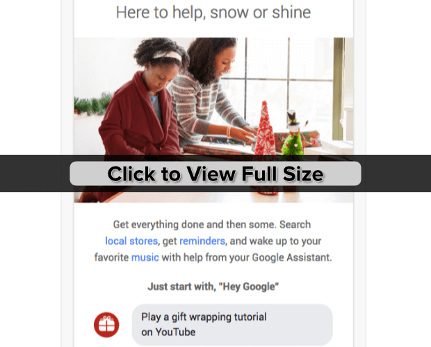 google home holiday email