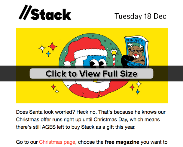 stack holiday email